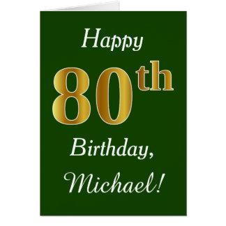 Cartão Verde, aniversário do 80 do ouro do falso + Nome