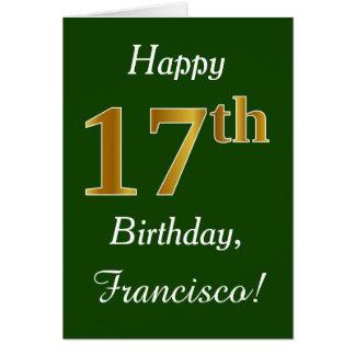 Cartão Verde, aniversário do ouro do falso 17o + Nome