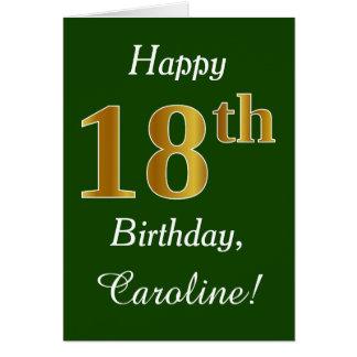 Cartão Verde, aniversário do ouro do falso 18o + Nome