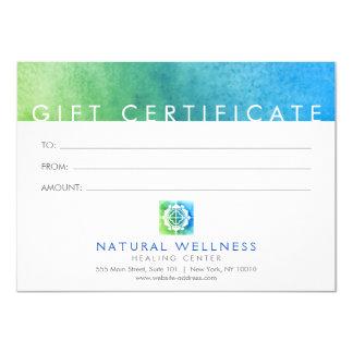 Cartão verde/azul do logotipo floral do bem-estar