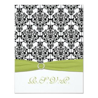 Cartão verde, branco, e preto do damasco II RSVP Convite 10.79 X 13.97cm