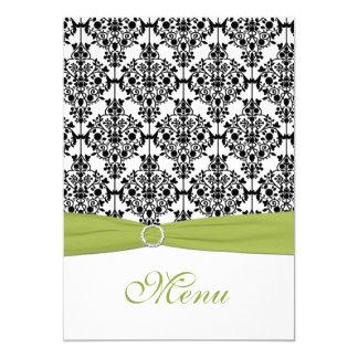 Cartão verde, branco, e preto do menu do casamento convite 12.7 x 17.78cm