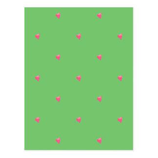 Cartão verde/cor-de-rosa dos corações dos confetes