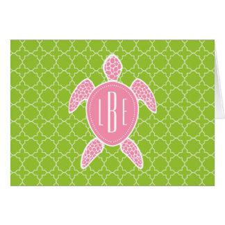 Cartão Verde cor-de-rosa Monogrammed Quatrefoil da