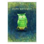 Cartão verde da coruja (customizável)