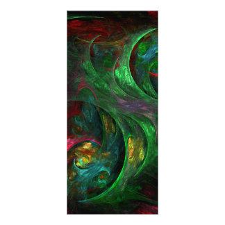 Cartão verde da cremalheira da arte abstracta da 10.16 x 22.86cm panfleto