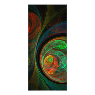 Cartão verde da cremalheira da arte abstracta do 10.16 x 22.86cm panfleto