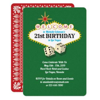 Cartão Verde da festa de aniversário do famoso de Las