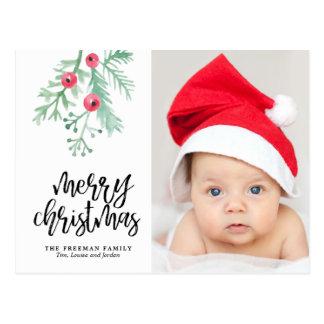 Cartão verde da foto do feriado do Natal