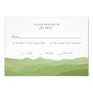Cartão verde da montanha RSVP da aguarela Convite 8.89 X 12.7cm