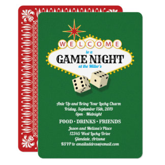 Cartão Verde da noite do jogo do famoso de Las Vegas