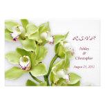 Cartão verde da resposta RSVP do casamento da orqu Convite
