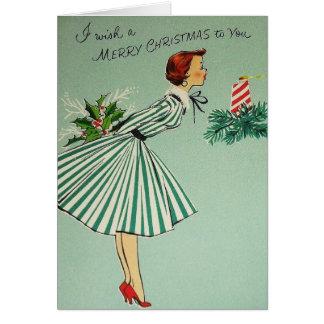 Cartão verde da senhora Natal