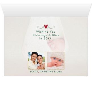 Cartão Verde da tipografia | da PAZ & foto da aguarela |