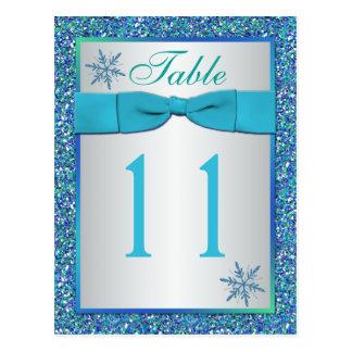 Cartão verde de prata do número da mesa dos flocos
