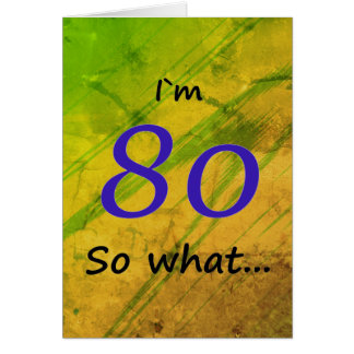 Cartão verde do aniversário do 80 engraçado
