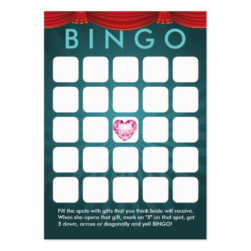 Cartão verde do Bingo do chá de panela do coração  Modelo Cartoes De Visitas