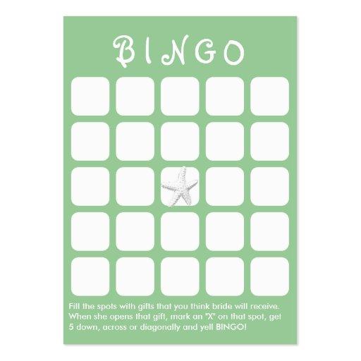 Cartão verde do Bingo do chá de panela dos peixes  Modelos Cartões De Visita