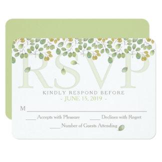 Cartão verde do cerco da simplicidade RSVP 3.5x5