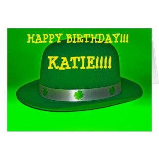 Cartão VERDE do dia do ST. Patricks do chapéu de