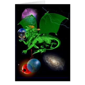 Cartão verde do dragão do universo