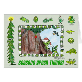 Cartão verde do duende das coisas das estações