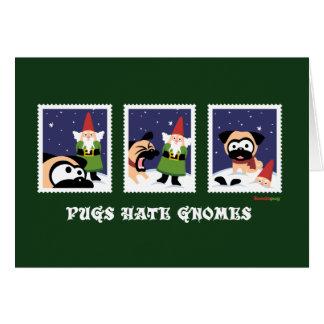 Cartão verde do feriado dos gnomos do ódio dos