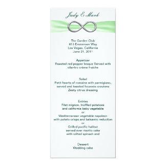 Cartão verde do menu do casamento da infinidade convite 10.16 x 23.49cm