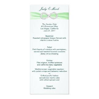 Cartão verde do menu do casamento da infinidade do convite 10.16 x 23.49cm