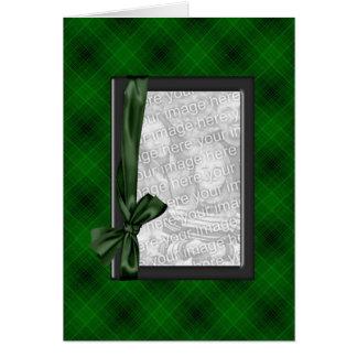 Cartão verde do quadro da foto da xadrez