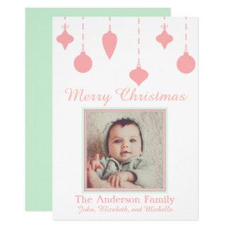 Cartão Verde do rosa da menina do Natal do bebê primeiro