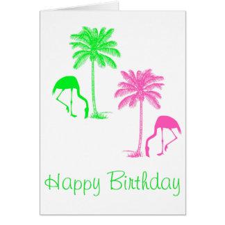 Cartão Verde do rosa das palmeiras dos flamingos do feliz