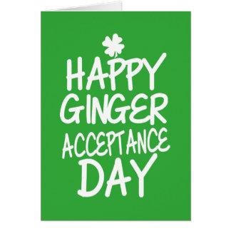 Cartão Verde feliz do dia da aceitação do gengibre