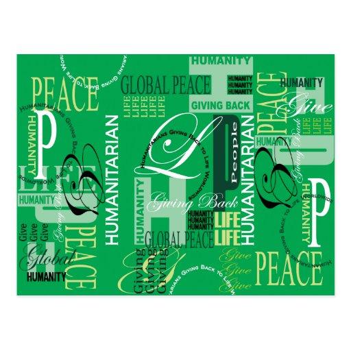 Cartão verde humanitário dos grafites cartão postal