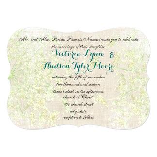 Cartão Verde rústico do Wildflower e laço da rainha Annes