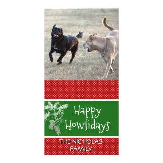 Cartão Verde vermelho da foto feliz do Natal do cão de