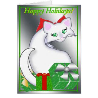 Cartão Verdes do feriado do gatinho de Bianca Toon