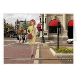 Cartão Verdi no cruzamento da rua principal, Houston,