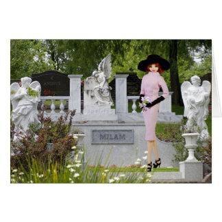 Cartão Verdi - vestuário cor-de-rosa, anjos no cemitério