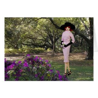 Cartão Verdi - vestuário cor-de-rosa, floral em Houston,