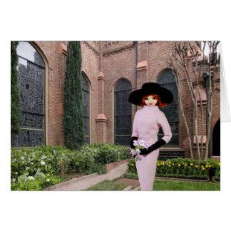 Cartão Verdi - vestuário cor-de-rosa, primavera na igreja