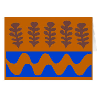 Cartão Vermelho abstrato da floresta e do rio