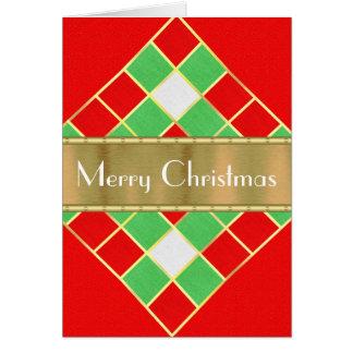 Cartão Vermelho animador, verde, branco com Natal do ouro