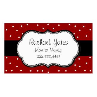 Cartão vermelho & branco à moda das mamães das bol cartoes de visitas