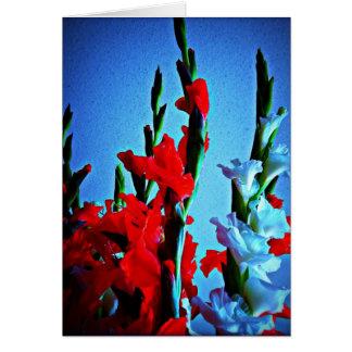 Cartão vermelho, branco & azul das flores