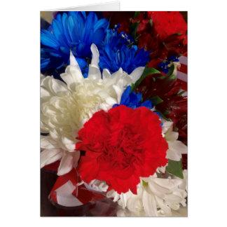 Cartão vermelho, branco e azul