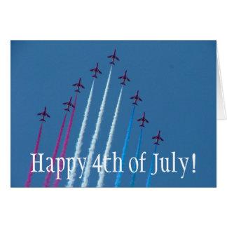 Cartão Vermelho, branco e azul, felizes 4o julho!