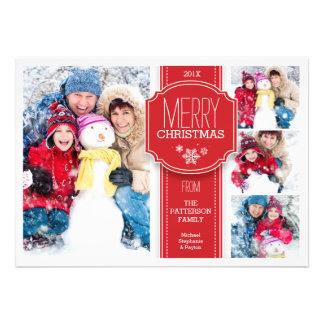 Cartão vermelho & branco elegante da foto da neve convite personalizados