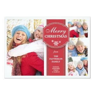 Cartão vermelho & branco elegante da foto da neve convites personalizado