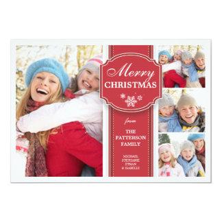Cartão vermelho & branco elegante da foto da neve convite 12.7 x 17.78cm